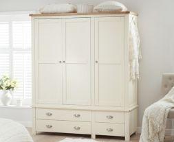 Sandringham Oak And Cream Triple Wardrobe