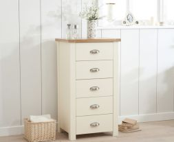 Sandringham Oak And Cream Tall 5 Drawer Chest