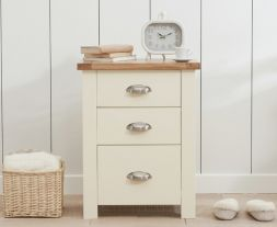 Sandringham Oak And Cream Tall 3 Drawer Nightstand