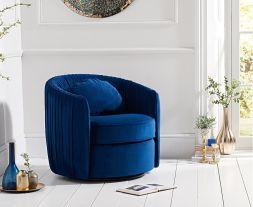 Sarana Blue Velvet Swivel Chair