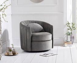 Sarana Grey Velvet Swivel Chair