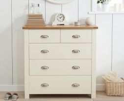 Sandringham Oak And Cream 3 + 2 Drawer Chest