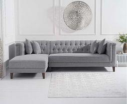 Tino Grey Linen Left Facing Chaise Sofa