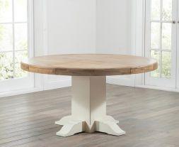 Turin 150cm Oak & Cream Round Dining Table