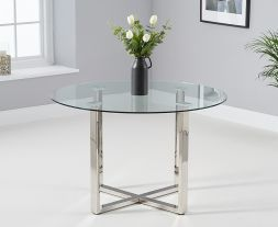Vidro 120cm Round Glass Dining Table