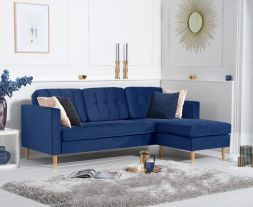 West Ridge Blue Velvet Reversible Chaise Sofa