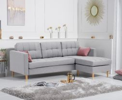 West Ridge Grey Linen Reversible Chaise Sofa