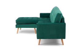 Wester Green Velvet Reversible Chaise Sofa