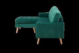 Wester Green Velvet Reversible Chaise Sofa