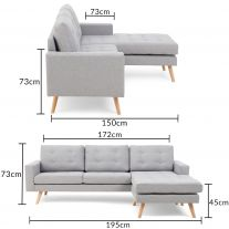 Wester Grey Linen Reversible Chaise Sofa
